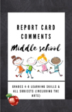 Report Card Comments - Grades 4-6 ALL Subjects