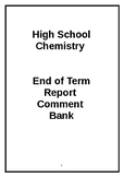 Report Card Comments High School Chemistry