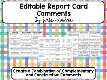 Report Card Comments List (Editable)