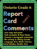 Report Card Comments - Ontario Grade 6