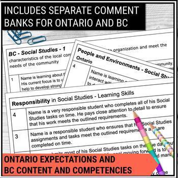Report Card Comments - SOCIAL STUDIES - Ontario Grade 2
