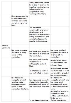 Report Card Comments - Senior Kindergarten