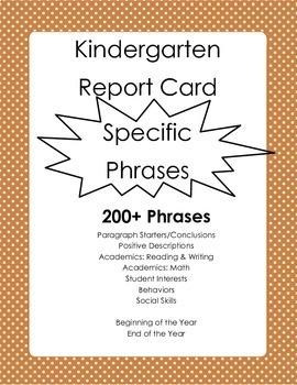 Kindergarten Report Card Comments - Specific Phrases 200+