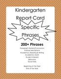 Kindergarten Report Card Comments - Specific Phrases 200+