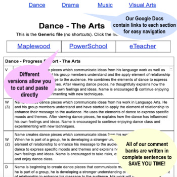 Report Card Comments - The Arts - Ontario Grade 6