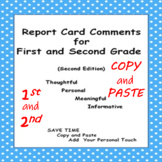 Report Card Comments for First and Second Grade Second (Copy and Paste)