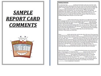 Report Card Comments for Reading, Writing and Work Habits