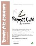 1830 REPORT CARD COMMENTS: language, math, behavior, scien