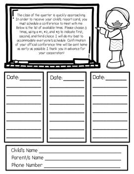 Parent Teacher Report Card Conference Request - EDITABLE