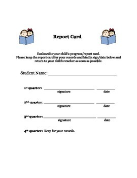Report Card Envelope Cover Sheet