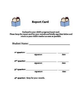 Report Card Envelope Cover Sheet