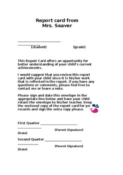 Report Card Form
