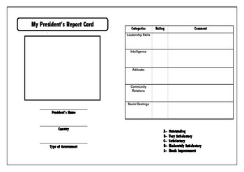 President's Report Card Graphic Organizer