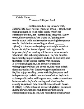 Report Card Narrative Generator - Report card comments for the whole year!