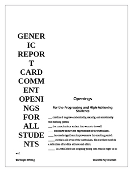 Report Card Openings