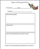 Report Card Progress Notes