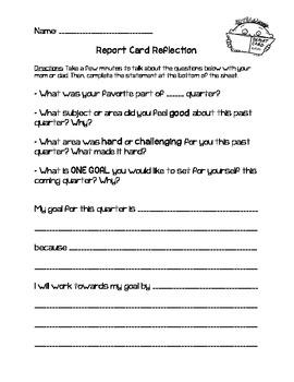 Report Card Reflection Homework