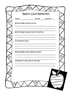 Report Card Reflection Sheet
