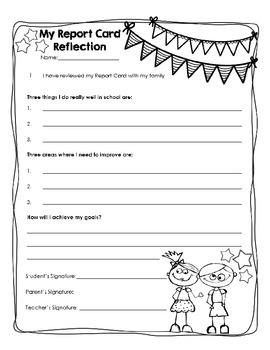 Report Card Reflection/Goal Setting Printable