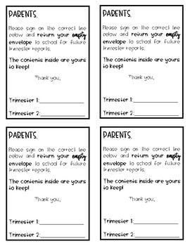 Report Card Sign-Off Cover Note