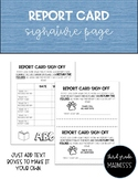 Report Card Signature Page