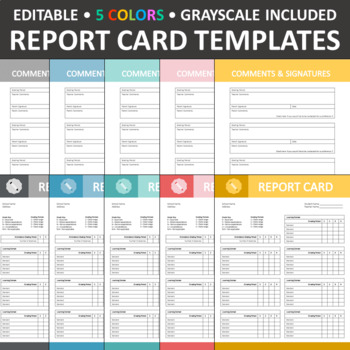 Report Card Templates Editable A By The Lost Teacher Tpt