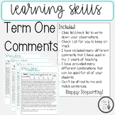 Report Card; Term 1; Learning Skills