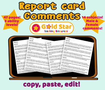 Report Card Comments Statements Bank & Targets