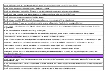 Report Comments for Reading and Writing - 88 different ones!