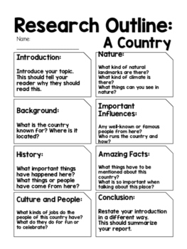 Report Outline: A Country