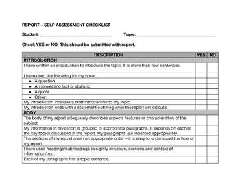 Report / Expository Writing - Self and Peer Assessment Checklists