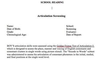Report Template - Goldman Fristoe Test of Articualtion-2