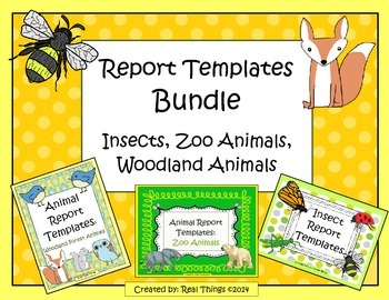 Animal Report Bundle-Insects, Zoo Animals, Woodland Forest Animals
