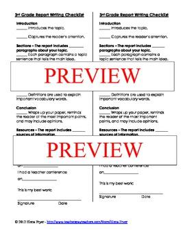 Report Writing Checklist - 3rd Grade Common Core