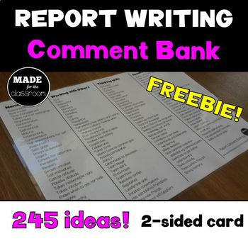 Report Writing Comment Bank