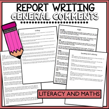 Report Writing Comment Cards