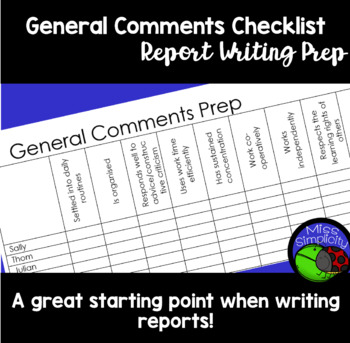 Report Writing; General comments preparation checklist