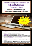 Report Writing and Feedback Comments Bank- MATHS: FREEBIE No 3!
