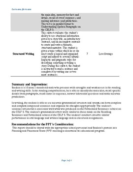 Report template for the CELF-5 reading and writing assessment