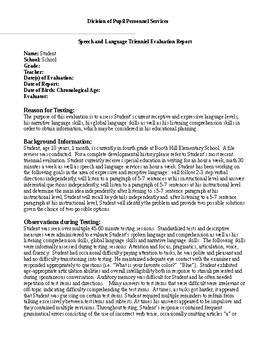 celf 5 sample report Speech Therapy-CELF-5 reading and writing assessment-report template