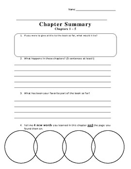 Report to the Principals Office Chapter 1-5 Packet