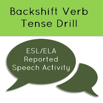 Reported Speech Backshift Verb Tense Drill