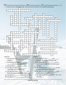 Reported Speech Crossword Puzzle