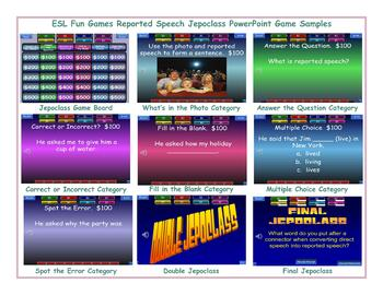 Reported Speech Jeopardy PowerPoint Game