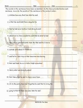 Reported Speech Scrambled Sentences Worksheet