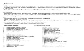 Reported Speech Spanish Legal Size Photo Tic-Tac-Toe-Bingo Game