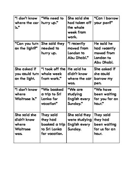Reported Speech memory game