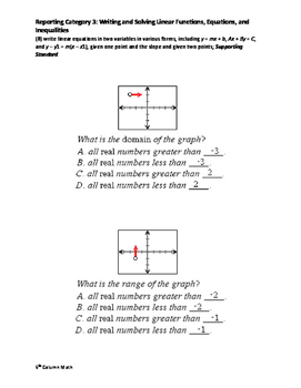 Reporting Category 3: Writing and Solving Linear Functions, Equations
