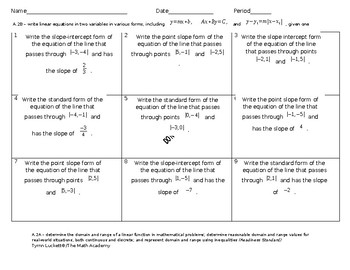 Reporting Category 3: Practice Problems  Writing and Solving Linear Functions