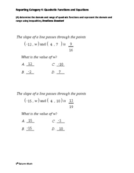 Reporting Category 4: Quadratic Functions and Equations